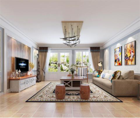 美式风格:万科玲珑湾(客厅)