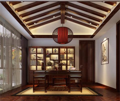 时尚的中式风格装修:苏州庭院(书房)
