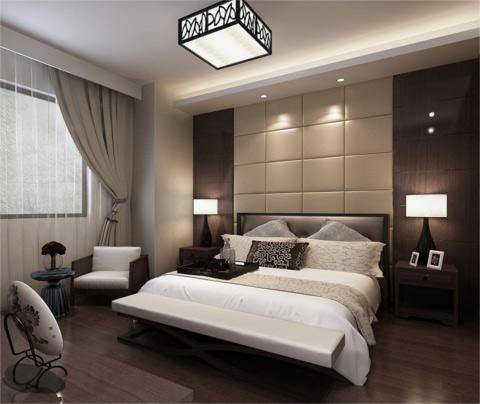 典雅的新中式风格装修:大湖城邦(卧室)