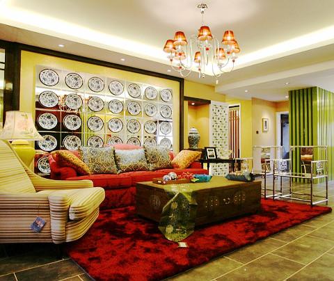 中式风格:碧波花园(客厅)