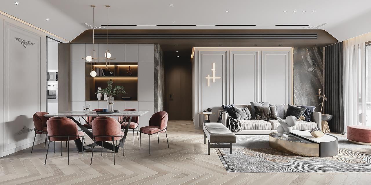 现代轻奢风格:客厅